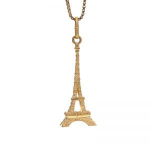 18K Yellow Gold 34mm Eiffel Tower Pendant