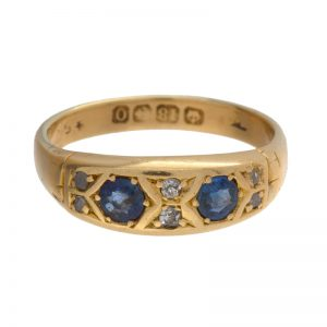 Antique 18K Yellow Gold 4 Rose Cut, 2 OMC Diamonds & 2 Sapphire Ring
