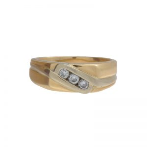 Gents 14K Yellow & White Gold .35TDW 3 Diamond Band