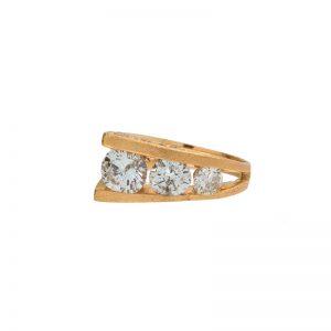 Custom Made 14K Yellow Gold 2.28TDW 10 Diamond Ring