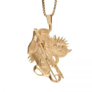10K Yellow Gold 35mm Zeus w/ Lightning Bolt Pendant