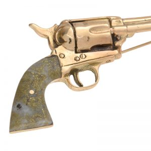 14K Yellow Gold 82mm Revolver Brooch w/ Gold Quartz