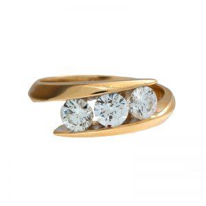 14K Yellow Gold 1.05TDW 3 Diamond Offset Ring