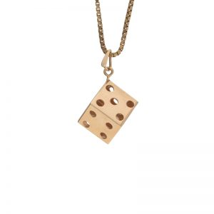 10K Yellow Gold 10mm Dice Pendant