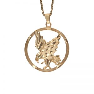 10K Yellow Gold 27.5mm Circle Shape Diamond Cut Eagle Pendant