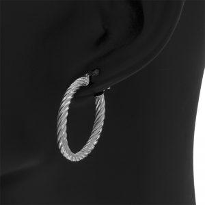 14K White Gold 30mm Twisted Leverback Hoop Earrings
