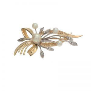 10K Yellow Gold Pearl & Diamond Floral Spray Brooch