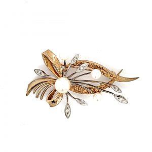 10K Yellow Gold Pearl & Diamond Floral Spray Brooch