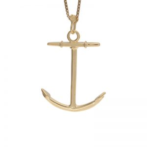 14K Yellow Gold 3 Dimensional 42mm Ships Anchor Pendant