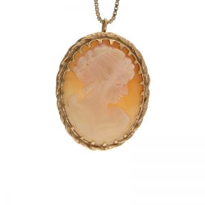 14K Yellow Gold Cameo Brooch/ Pendant