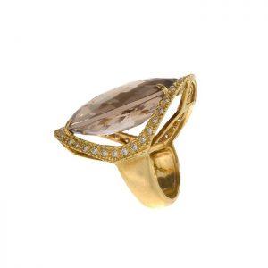 18K Yellow Gold 36.15CT Large Oval Smokey Quartz & Diamond Ring