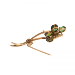 18K Rose Gold Vintage Pear Shaped Green Tourmaline Flower Brooch