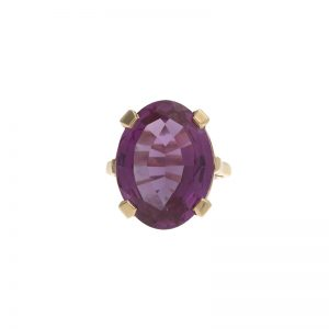 10K Yellow Gold Oval Synthetic Color Changing Sapphire Ring