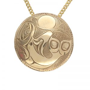 14K Yellow Gold 44mm Round Fine Carved Orca & Sun Pendant