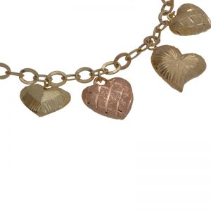 10K Yellow Gold & Rose Gold Multi Puffed Hearts Bracelet