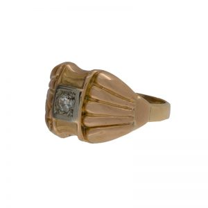 Antique 10K Yellow Gold .12CT OEC Diamond Ring