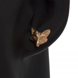 14K Yellow Gold 13.5mm Fox Head Stud Earrings