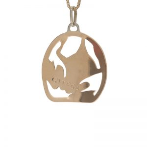 First Nations 10K Yellow Gold 32mm Frog Pendant by Ron Wilson