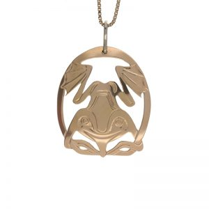 First Nations 10K Yellow Gold 35mm Frog Pendant by Ron Wilson