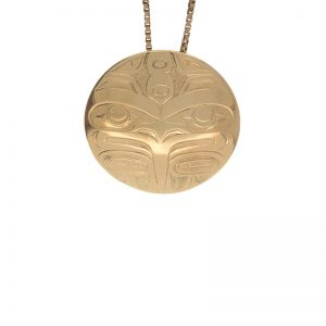 First Nations 14K Yellow Gold 28mm Round Raven Pendant