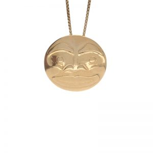 First Nations 14K Yellow Gold Round Haida Moon Pendant/Brooch