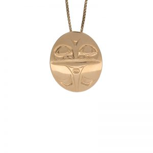First Nations 14K Yellow Gold Oval Frog Pendant