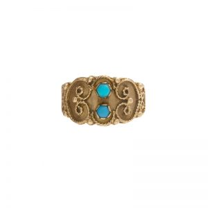 Elaborate 10K Yellow Gold 2 Turquoise Wide Tapered Band