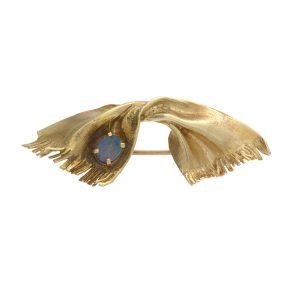 14K Yellow Gold Custom Made Scarf Brooch w/ Opal Triplet