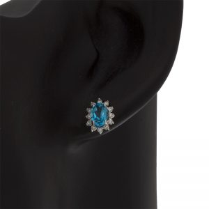 14K White Gold Oval Blue Topaz Diamond Cluster Stud Earrings