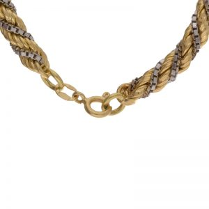 18K Gold Two Tone Box Link & Rope Link Chain