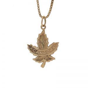 10K Yellow Gold 21mm Canada Maple Leaf Charm/Pendant