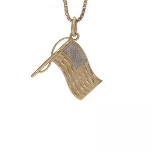 10K Yellow Gold Two-Toned American Flag Pendant