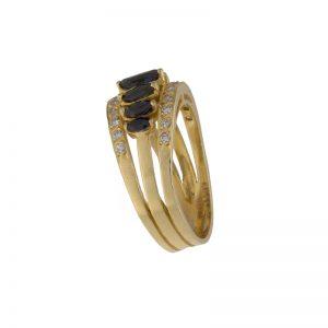 18K Yellow Gold 7 Sapphire & 22 Diamond Ring