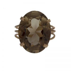 14K Yellow Gold Oval Smokey Quartz Solitaire Ring