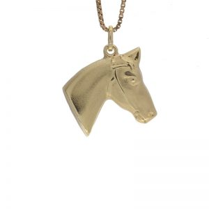 14K Yellow Gold 23mm Hollow Horse Head Pendant