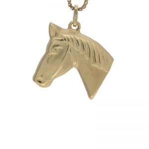 14K Yellow Gold 23mm Hollow Horse Head Pendant