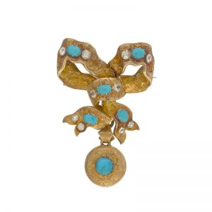 Antique 18K Yellow Gold Turquoise Ribbon Brooch w/ Mourning Drop