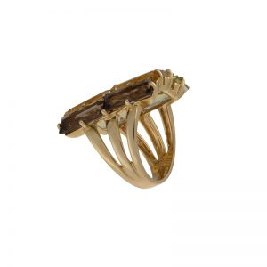 14K Yellow Gold Multi Quartz Gemstone Ring
