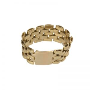 18K Yellow Gold 10mm Articulated Chain Link Band Style Ring