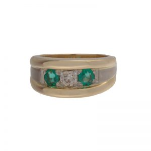14K Yellow Gold 2 Emerald & 1 OEC Diamond Wide Band