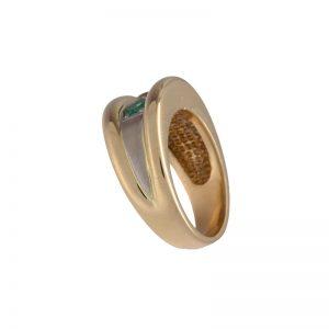 14K Yellow Gold 2 Emerald & 1 OEC Diamond Wide Band