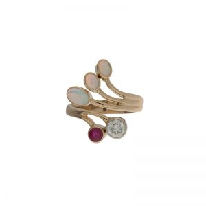 14K Yellow Gold Custom 3 Opal, Ruby & Diamond Offset Spray Style Ring