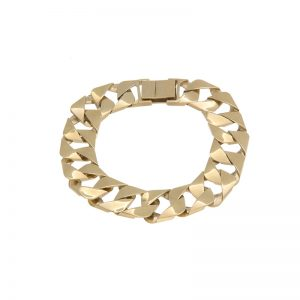 10K Yellow Gold 9″ Open Square Curb Link Bracelet