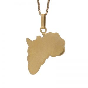 18K Yellow Gold 38mm Africa Shaped Pendant