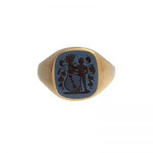 Vintage 18K Yellow Gold 13.5mm Carved Sardonyx Intaglio Signet Ring