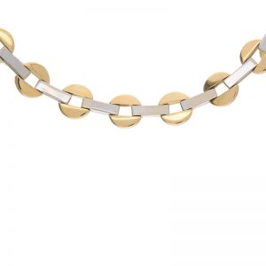 18K Yellow & White Gold 17.25″ Open Circle & Bar Link Necklace