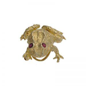 14K Yellow Gold 31mm Frog Brooch w/ Ruby Eyes