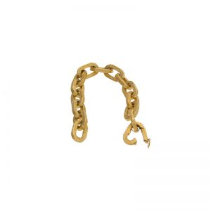 18K Yellow Gold 8″ Cable Link Nugget Textured Bracelet