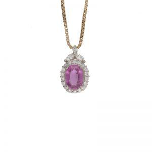 Platinum 2.11CT Pink Sapphire & 21 Diamond Pendant