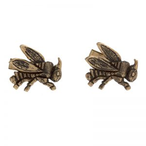 Pair of 14K Yellow Gold 23mm Bee Cuff Links